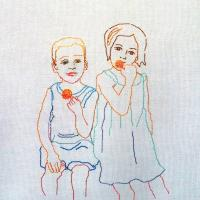 Eating Children 1, 2015 - New embroidery on canvas  50x70cm