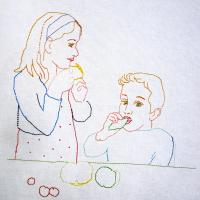 Children eating candy, 2015 – New embroidery on canvas  50x70cm