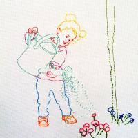 AnnaMaria con Innafiatoio – New embroidery on canvas  50x70cm